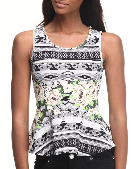 Ali & Kris - Women Grey Aztec Floral Peplum Top - $10.99