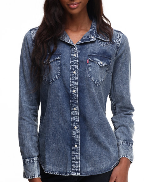 Levi's - Women Blue Distressed Wash Western Buttondown Shirt