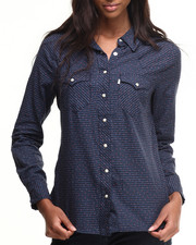 Levi's - Ditzy Dot Print Plaid Tailored Western Shirt