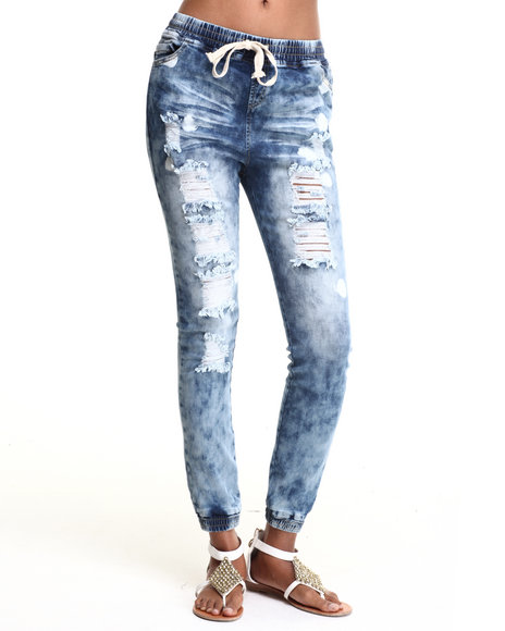 Soho Babe - Women Medium Wash Boyfriend Rip & Repair Destroyed Denim Jogger
