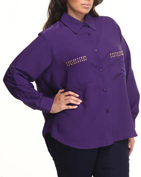 Apple Bottoms - Studded Collar & Pockets with Roll-up Sleeve Shirt (Plus)