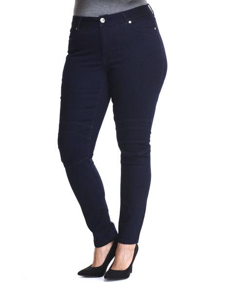 Baby Phat - Women Indigo Acid Wash Moto Skinny Jean (Plus)