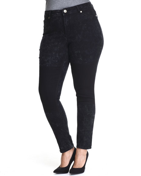Baby Phat - Women Black 2-Tone Acid Wash Skinny Jean (Plus)