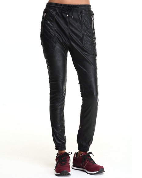 SOHO BABE - Vegan Leather Trim Quilted Pocket Jogger
