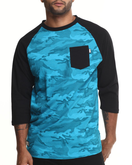 Dgk - Men Blue Stealth Pocket 3/4 Sleeve Raglan Tee