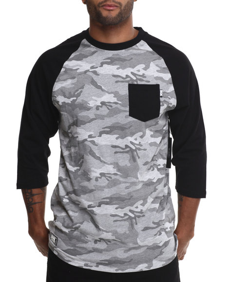 Dgk - Men Grey Stealth Pocket 3/4 Sleeve Raglan Tee