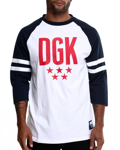 Dgk - Men Navy,White Worldwide 3/4 Sleeve Raglan Tee