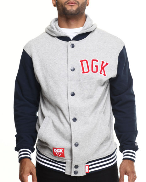 Dgk - Men Grey,Navy Worldwide Letterman Fleece Snap Front Hoodie