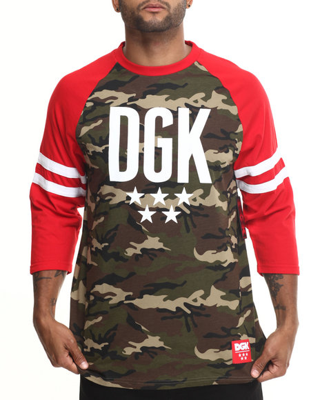 Dgk - Men Camo Worldwide 3/4 Sleeve Raglan Tee