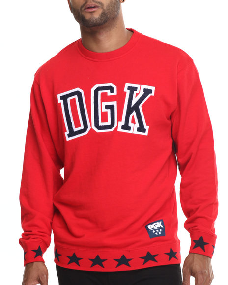 Dgk - Men Red Worldwide Crew Fleece Sweatshirt