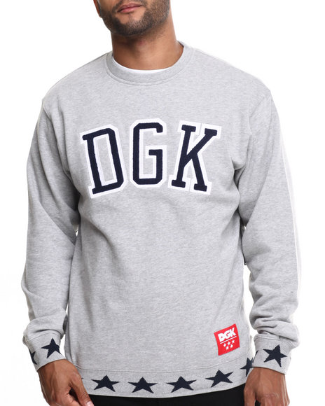 Dgk - Men Grey Worldwide Crew Fleece Sweatshirt