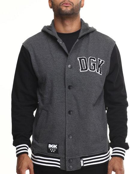 Dgk - Men Black,Grey Worldwide Letterman Fleece Snap Front Hoodie