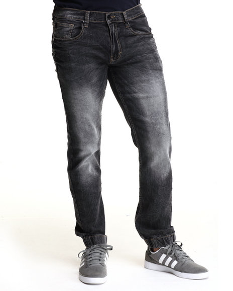 Akademiks - Men Black Fairfax Ice Wash Jogger Denim Jeans (Elastic Band Detail) - $38.99
