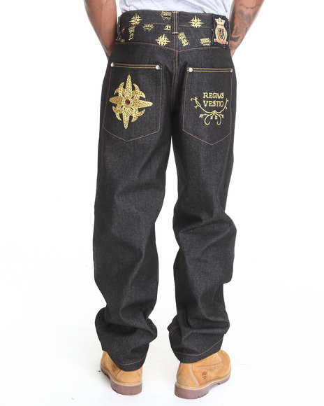 Crown Holder - Men Dark Wash,Gold C H Regius Vestio Denim Jeans