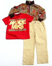 Boys - 3 PC SET - LEOPARD PRINT TRACK JACKET, TEE, & PANTS (2T-4T)