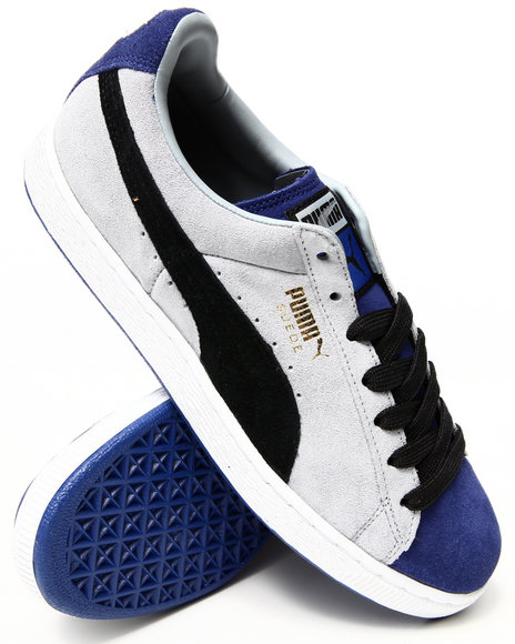 Puma - Men Blue Suede Stripes And Blocks Sneakers