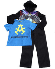 Akademiks - 3 PC SET - PANTHER SUBLIMATION HODDY, TEE, & JEANS (4-7)