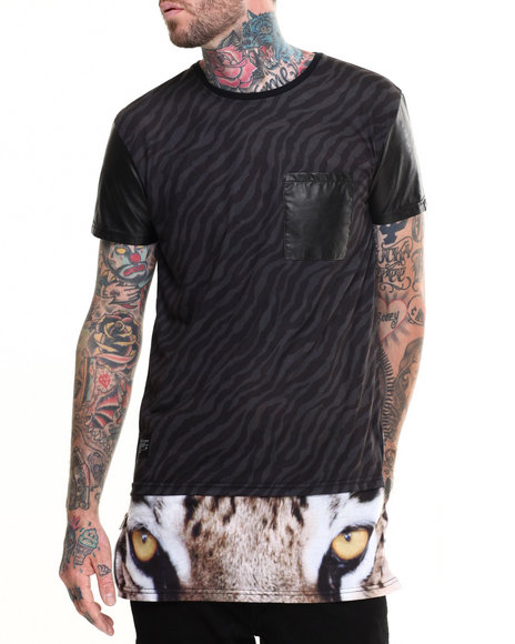 Two Angle Clothing - Men Black Tigrou Tiger - Striped Faux - Leather Trimmed S/S Tee