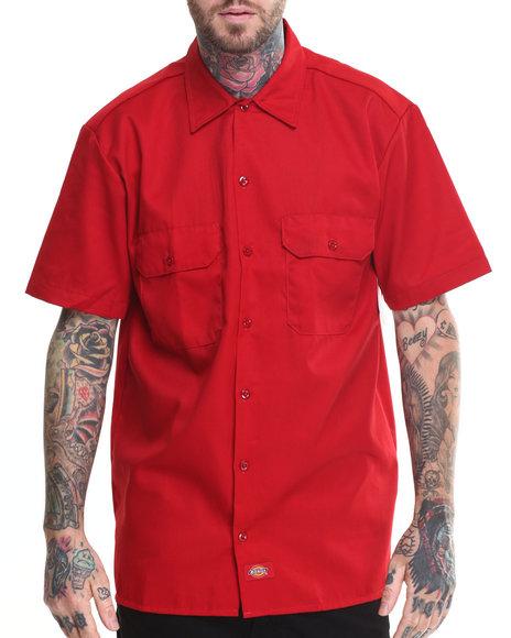 Dickies - Men Red Dickies Short Sleeve Button-Down