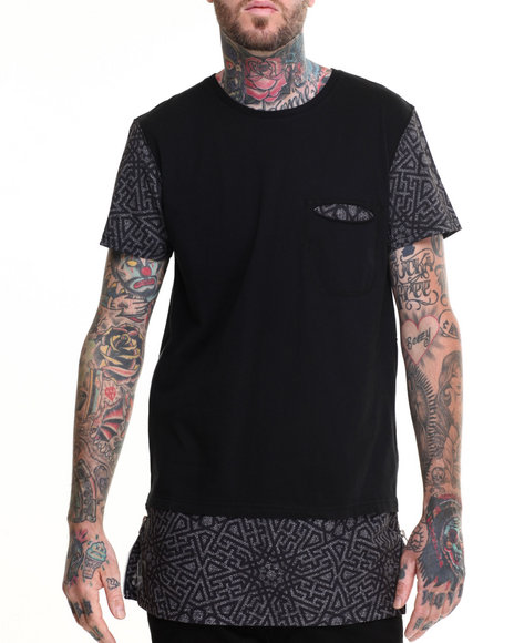 Black Kaviar - Men Black Shelter Elongated Printed S/S Tee - $33.99