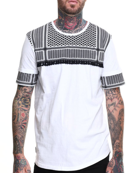 Black Kaviar - Men White Statam Patterned S/S Tee - $39.99