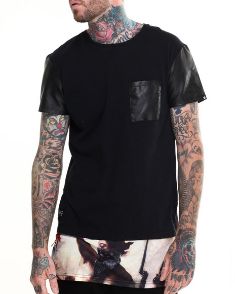 Two Angle Clothing - Men Black Testa Elongated Faux - Leather Trimmed S/S Tee