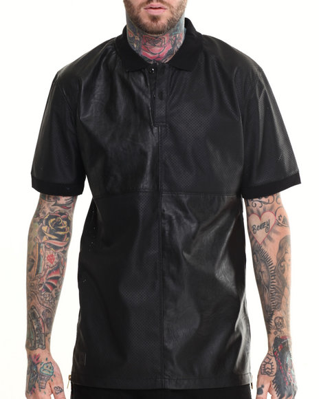 Black Kaviar - Men Black Sexion Faux Leather S/S Polo - $71.99
