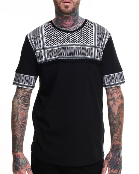Black Kaviar - Men Black Statam Patterned S/S Tee