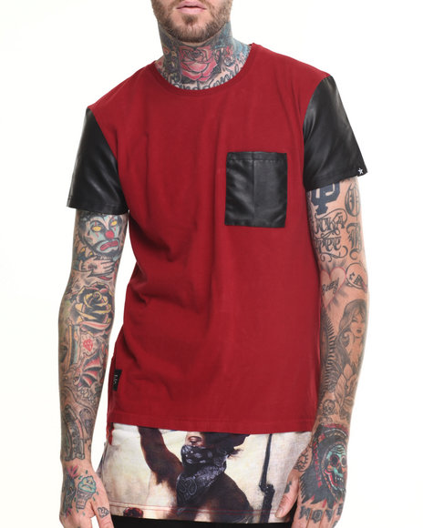 Two Angle Clothing - Men Maroon Testa Elongated Faux - Leather Trimmed S/S Tee