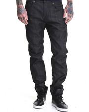 Kennedy Denim Company - Raw Black/White Microdots Slimt Fit Premium Denim Jeans (Cuff Detail)