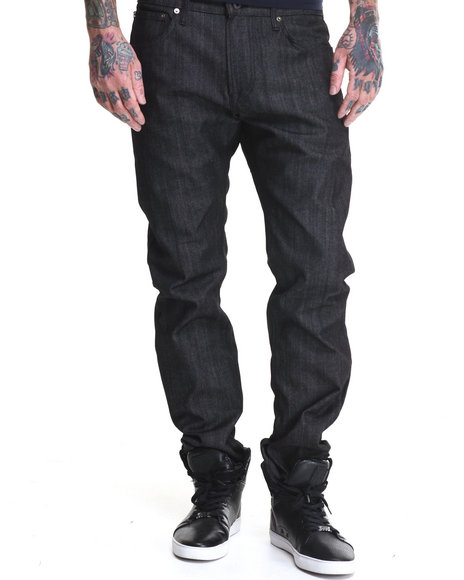 Kennedy Denim Company - Men Black Raw Black/White Microdots Slimt Fit Premium Denim Jeans (Cuff Detail)