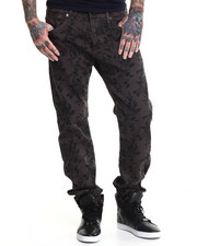 Jeans - Charcoal Print Premium Slim Fit denim Jeans