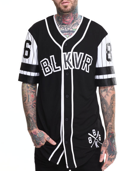 Black Kaviar - Men Black Shimono Contrast - Sleeve Baseball Jersey