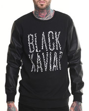 Sweatshirts & Sweaters - Shady Faux Leather - Sleeve Crewneck Sweatshirt