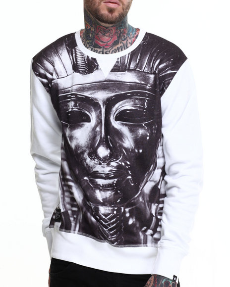Two Angle Clothing - Men White Yorus Printed Crewneck Sweatshirt