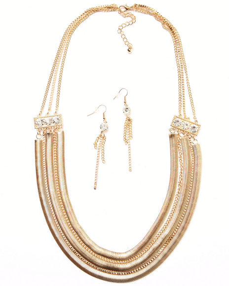 Drj Accessories Shoppe Women Chain & Stone Earring/Necklace Set Gold