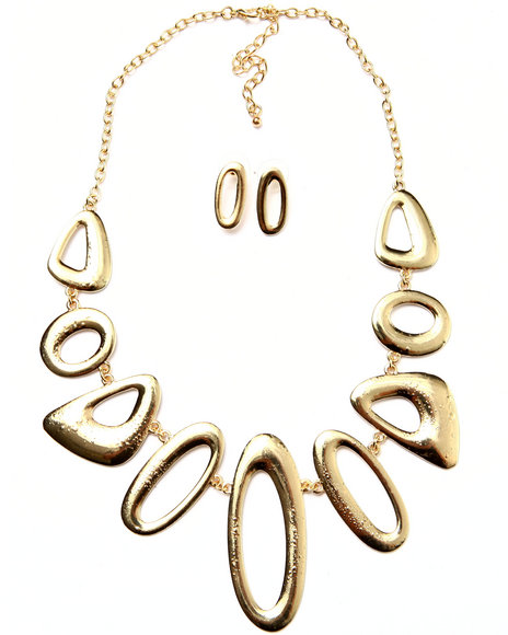 Drj Accessories Shoppe Women Abstract Earring/Necklace Set Gold
