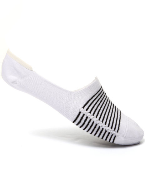 Levi's Men 168 Basic Stripe No Show 2-Pack Socks White