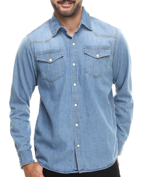 Buyers Picks - Men Light Indigo Light Bleach Wash Vintage Indigo L/S Button Down Shirt