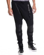 Jeans & Pants - Sparisti Faux Leather -Trimmed Zippered Jogger
