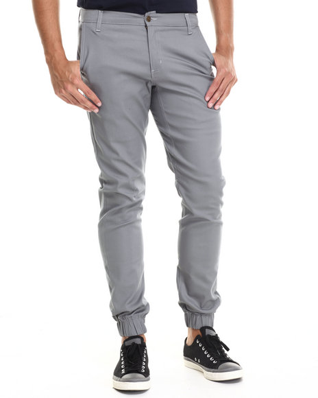 Buyers Picks - Men Grey Chino/ Jogger Straight Fit Pants (Elastic Band Detail)