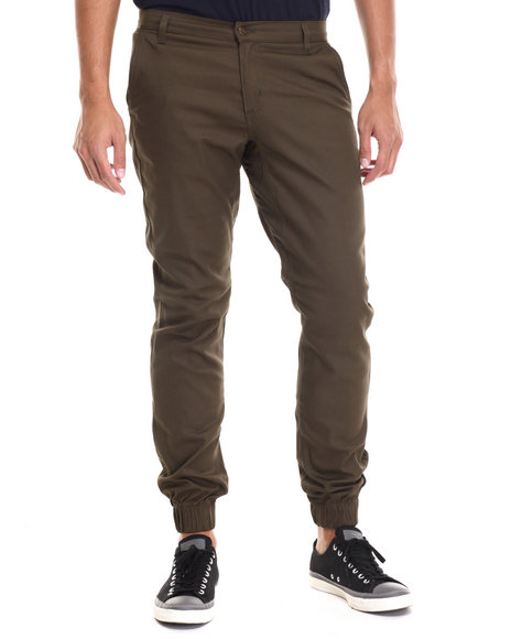 Buyers Picks - Men Olive Chino/ Jogger Straight Fit Pants (Elastic Band Detail)