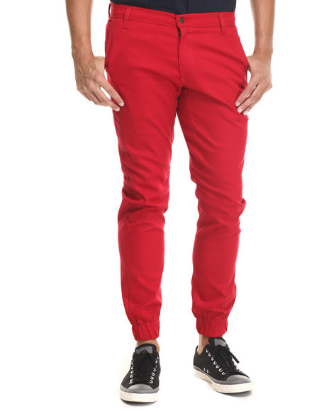 Buyers Picks - Men Red Chino/ Jogger Straight Fit Pants (Elastic Band Detail)