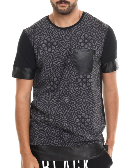 Ur-ID 185134 Black Kaviar - Men Black Sunrise Faux Leather - Trimmed Printed S/S Tee