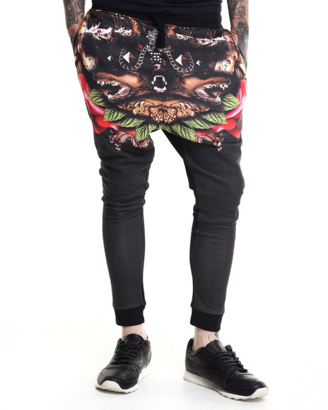 Two Angle Clothing - Men Black Tutor Printed Joggers