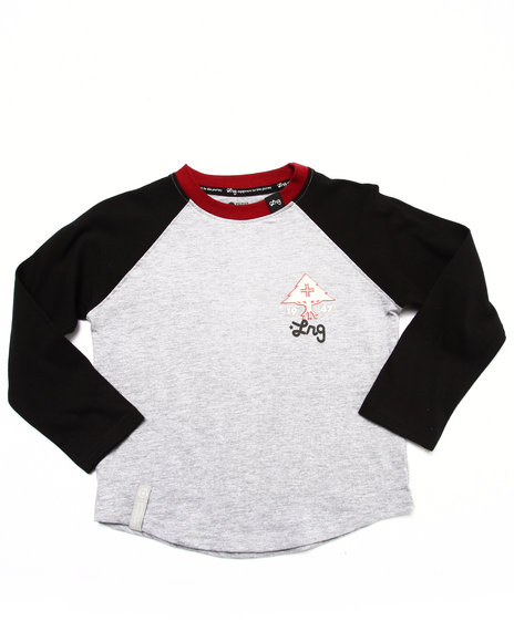 Lrg - Boys Light Grey Equipment For Life Raglan (8-20)