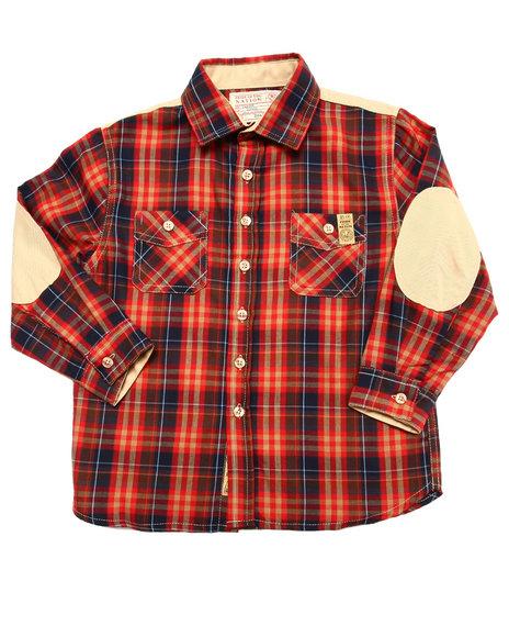 Parish - Boys Red Plaid Shirt W/ Elbow Patches (4-7)