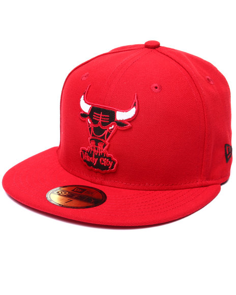 New Era - Men Red Chicago Bulls Patch Enthusiast 5950 Fitted Hat