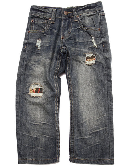 Parish - Boys Vintage Wash Distressed Aztec Flap Pocket Jeans (4-7)