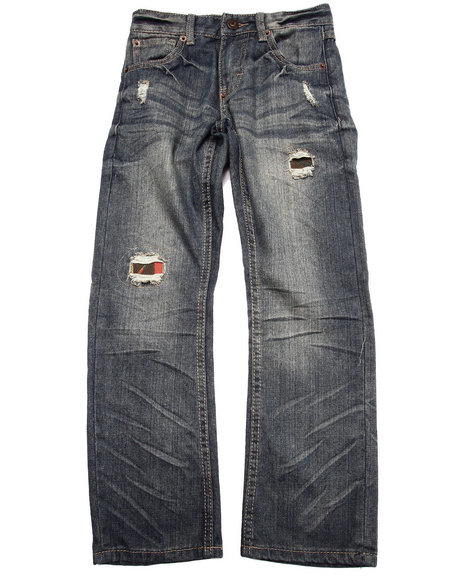 Parish - Boys Vintage Wash Distressed Aztec Flap Pocket Jeans (8-20)